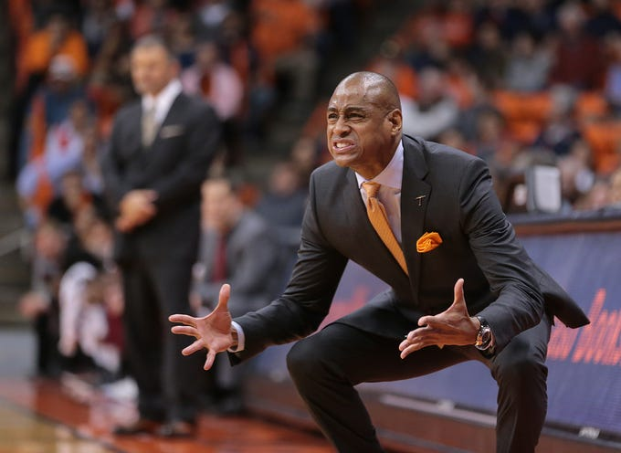 UTEP basketball coach Rodney Terry gets into the game against NMSU on Wednesday night at the Don Haskins Center. NMSU held on to win 62-58.