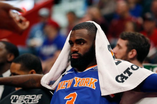 New York Knicks guard Tim Hardaway Jr. sits on the bench during the second half of an NBA basketball game against the Detroit Pistons, Tuesday, Nov. 27, 2018, in Detroit.