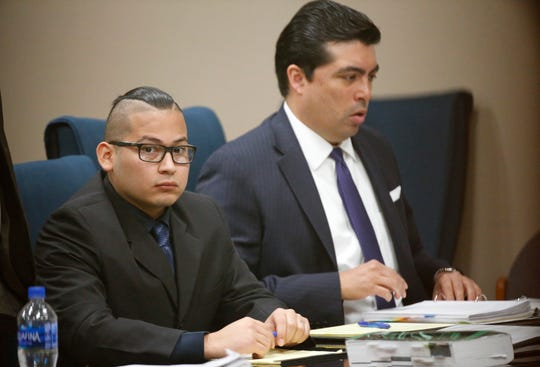 Reniery Adalberto Galeano, left, sits with his attorney, Leonardo E. Maldonado, on Thursday afternoon. Galeano faces one count of aggravated assault with a deadly weapon in connection with the stabbing of Blanca Rodriguez at about 3 a.m. Sept. 18, 2016, during a party at a house in the 200 block of Gus Rallis Drive. The trial is being held in the 168th District Court with Judge Marcos Lizarraga presiding and is expected to continue Friday.