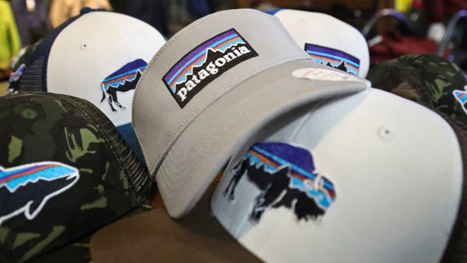 This photo shows the Patagonia logo on items in the brand section of a retail department store Wednesday in New York.