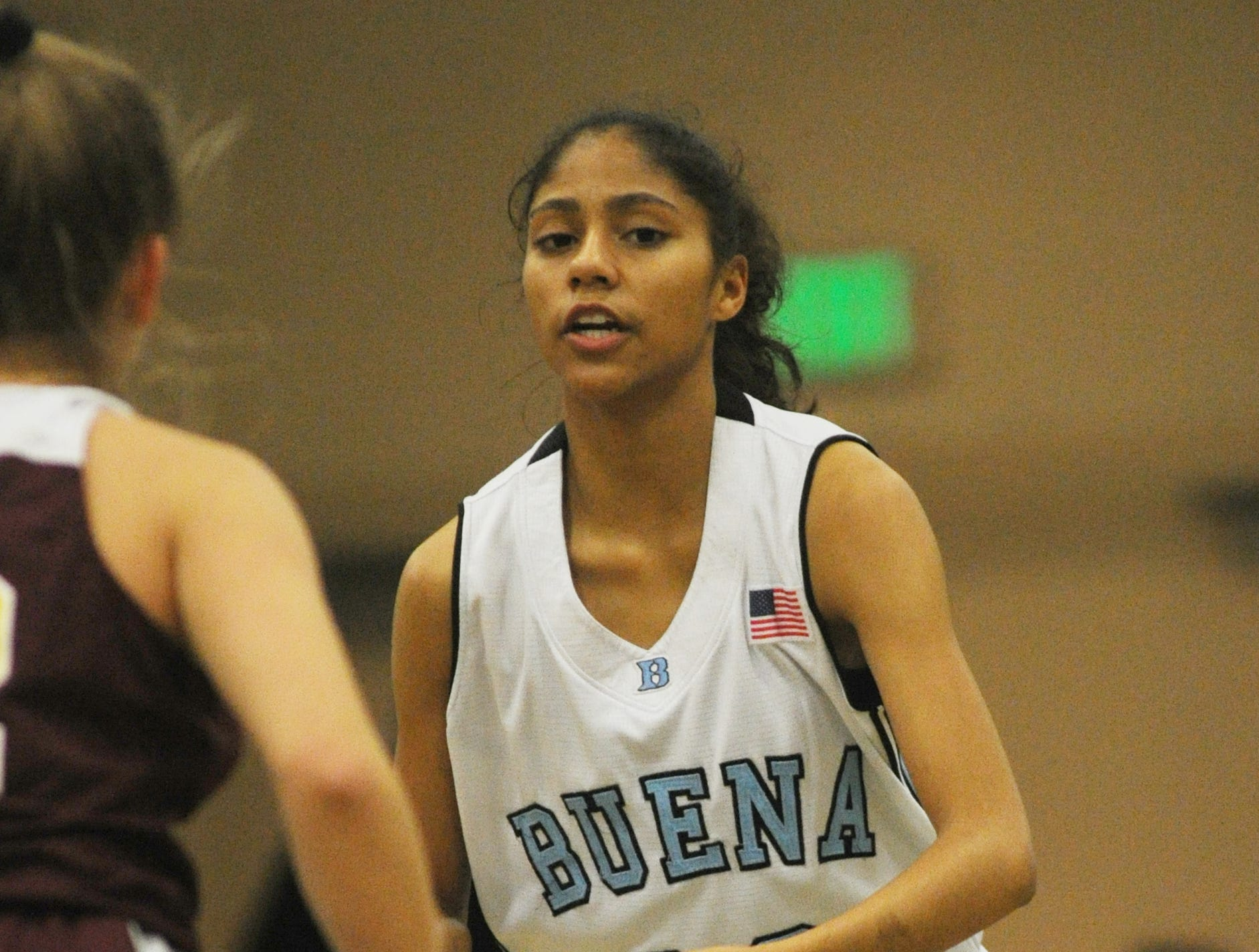 Buena's Kaydn Mew brings the ball up court against Simi Valley during the second game of the 42nd annual Buena-Kiwanis Girls Basketball Tournament at Buena High on Wednesday. Mew scored 18 points to lead Buena to a 62-34 win.