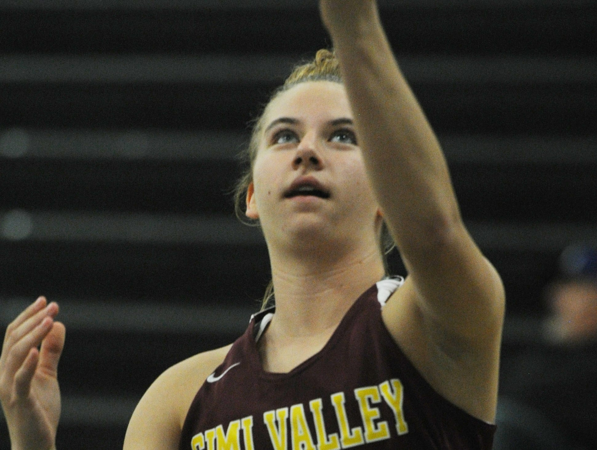 Simi Valley's Miranda Carabello warms up before Wednesday's game against Buena at the 42nd annual Buena-Kiwanis Girls Basketball Tournament at Buena High. Buena won, 62-34.