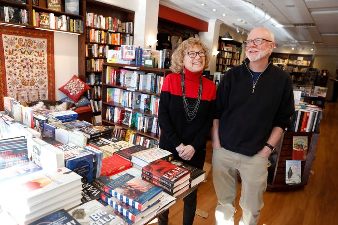 Jessica Kaplan and Mark Fowler, owners of Bronx River Books in Scarsdale at the store on Nov. 29, 2018.