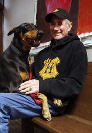 Jim Dale, narrator for the Harry Potter books, took his dog Gypsy to check out the Schoolhouse Theatre in Croton Falls Nov. 28, 2018. Dale will be performing a one-man show at the Theatre in December.