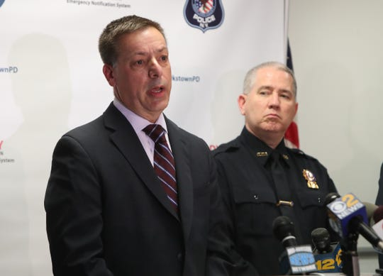 Det. Lt. Glenn Dietrich, left and Det. Peter Walker speak at a press conference at Clarkstown Police headquarters in New City Nov. 29, 2018 announcing the arrest of Eric Hue Ross Jr. who was charged with murdering Youbens Joseph on Nov. 24, 2018