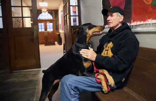 "Jim Dale, narrator of all seven ""Harry Potter"" audio books, brought his 3-year-old Doberman, Gypsy, along as he checked out the Schoolhouse Theater in Croton Falls on Nov. 28. The Tony-winning actor will be doing a one-man show, ""Just Jim Dale,"" at the 99-seat theater on Dec. 13 and 15."