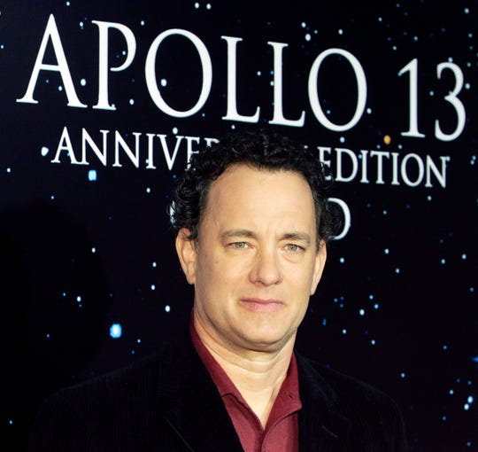 "Actor Tom Hanks starred as Commander Jim Lovell in the movie ""Apollo 13."" In the movie."