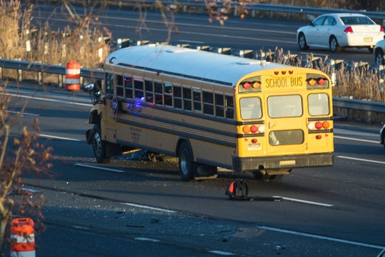 First responders on the scene of a bus crash that occurred at the West Basin Road on-ramp with I-95 North Thursday afternoon.