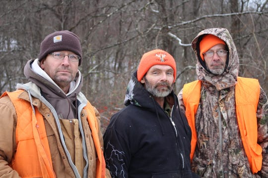 JC White, Ron White and Ed Kinder, from left, came from Ashland, for a week of deer hunting in the Woodbury Wildlife Area.