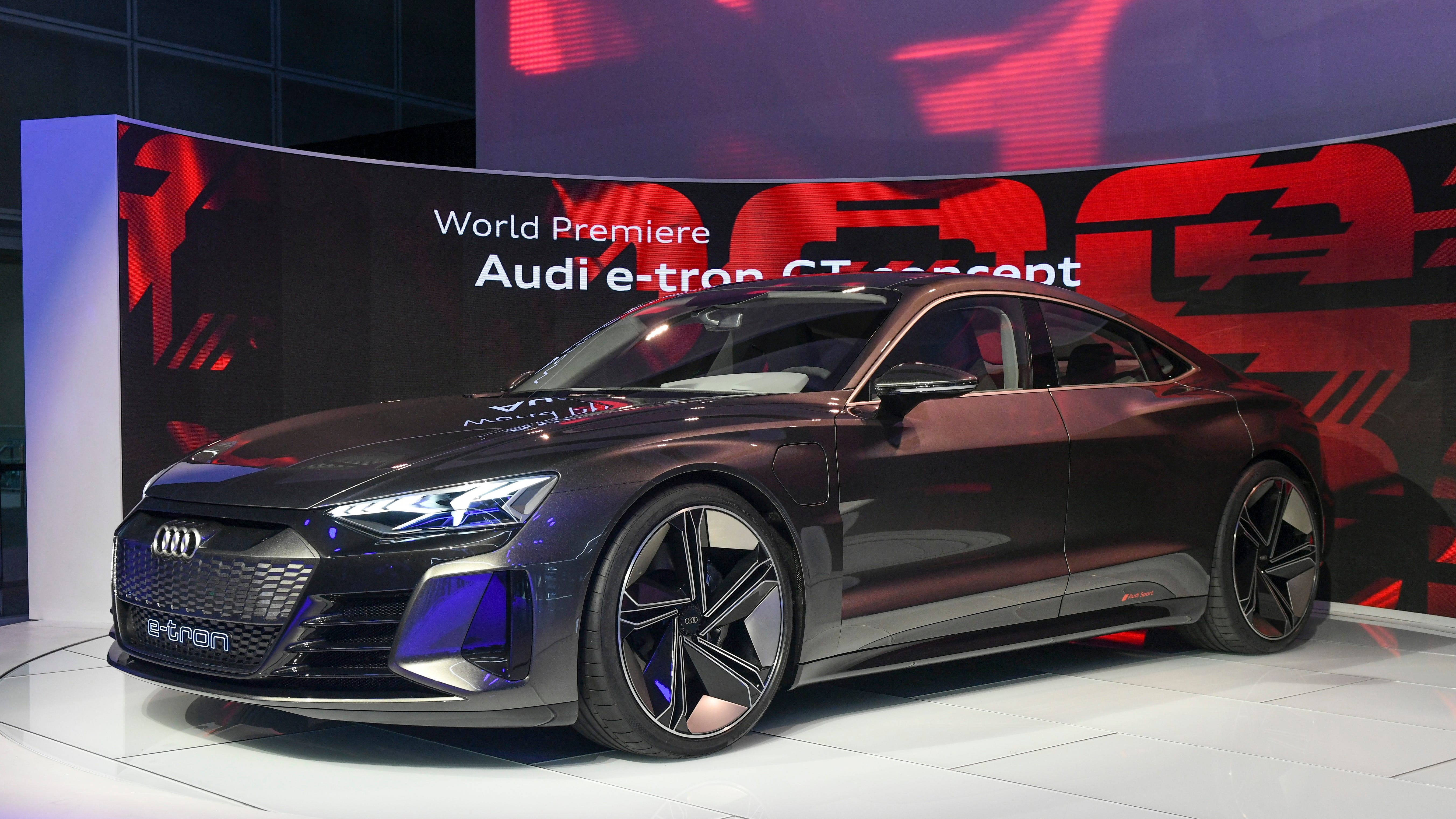 The Audi e-tron GT concept car is on display during press preview day at Los Angeles Auto Show.