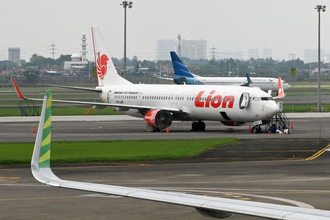 This file picture taken on November 27, 2018 shows Lion Air and Garuda Indonesia planes at the Sukarno-Hatta International Airport in Tangerang, on the outskirts of Jakarta.