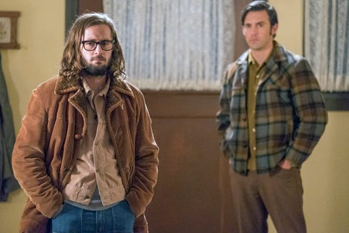 """Nicky Pearson (Michael Angarano), character of """"This Is Us"""", left, seen with his brother, Jack (Milo Ventimiglia), looks very different before his transformation during the military service in Vietnam."""