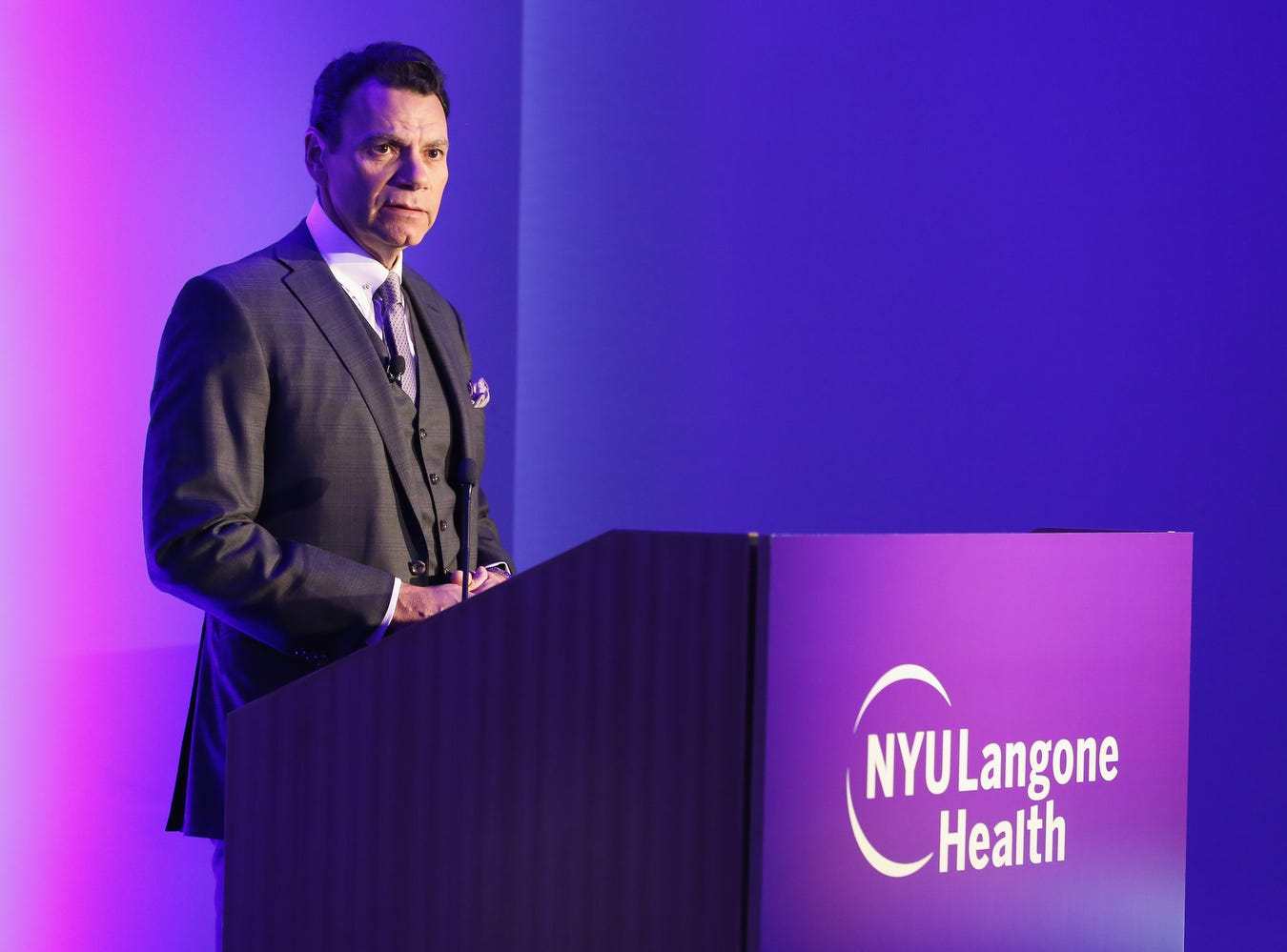 Eduardo D. Rodriguez, MD, DDS speaks during the Face Transplant Announcement. He is chair of the Hansjörg Wyss Department of Plastic Surgery at NYU's Langone Health and has conducted two other face transplant surgeries.