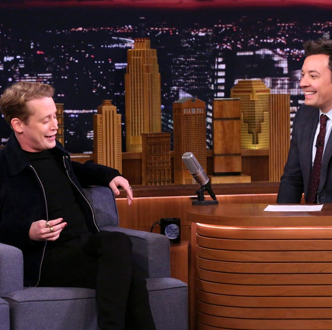"Macaulay Culkin chats with ""Tonight Show"" host Jimmy Fallon Wednesday."
