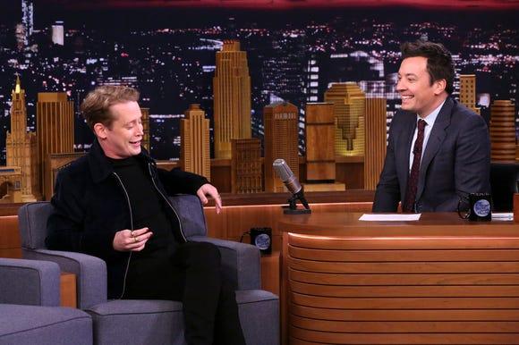 "Macaulay Culkin chats with ""Tonight Show"" host Jimmy Fallon Wednesday."