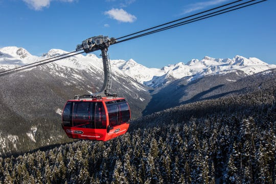 Each cabin on the Peak 2 Peak gondola connecting Whistler and Blackcomb holds nearly 30 skiers.