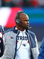 New England Patriots linebackers coach Brian Flores against the Jacksonville Jaguars during the AFC Championship at Gillette Stadium.