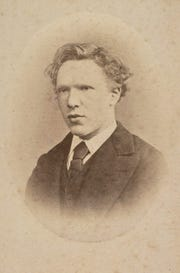 A handout picture released by the Van Gogh Museum, Amsterdam on shows a black and white image of Dutch painter Vincent van Gogh, aged 19.
