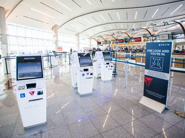 This photo provided by Delta Air Lines shows new biometric scanning technology at Terminal F in Hartsfield-Jackson International Airport in Atlanta.