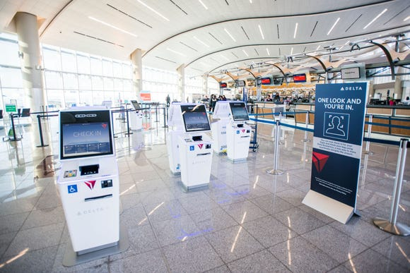 This photo provided by Delta Air Lines shows a new biometric scanning technology at Terminal F of Hartsfield-Jackson Atlanta International Airport.