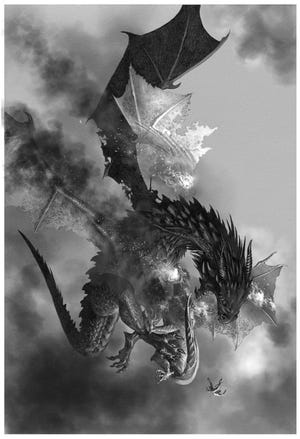 """King Maegor I, on the mighty dragon Balerion, defeats his rival and nephew, Prince Aegon, on Quicksilver, from """"Fire and Blood."""""""