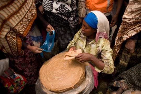 Injera is a sourdough-risen flatbread and is the national dish of Ethiopia.