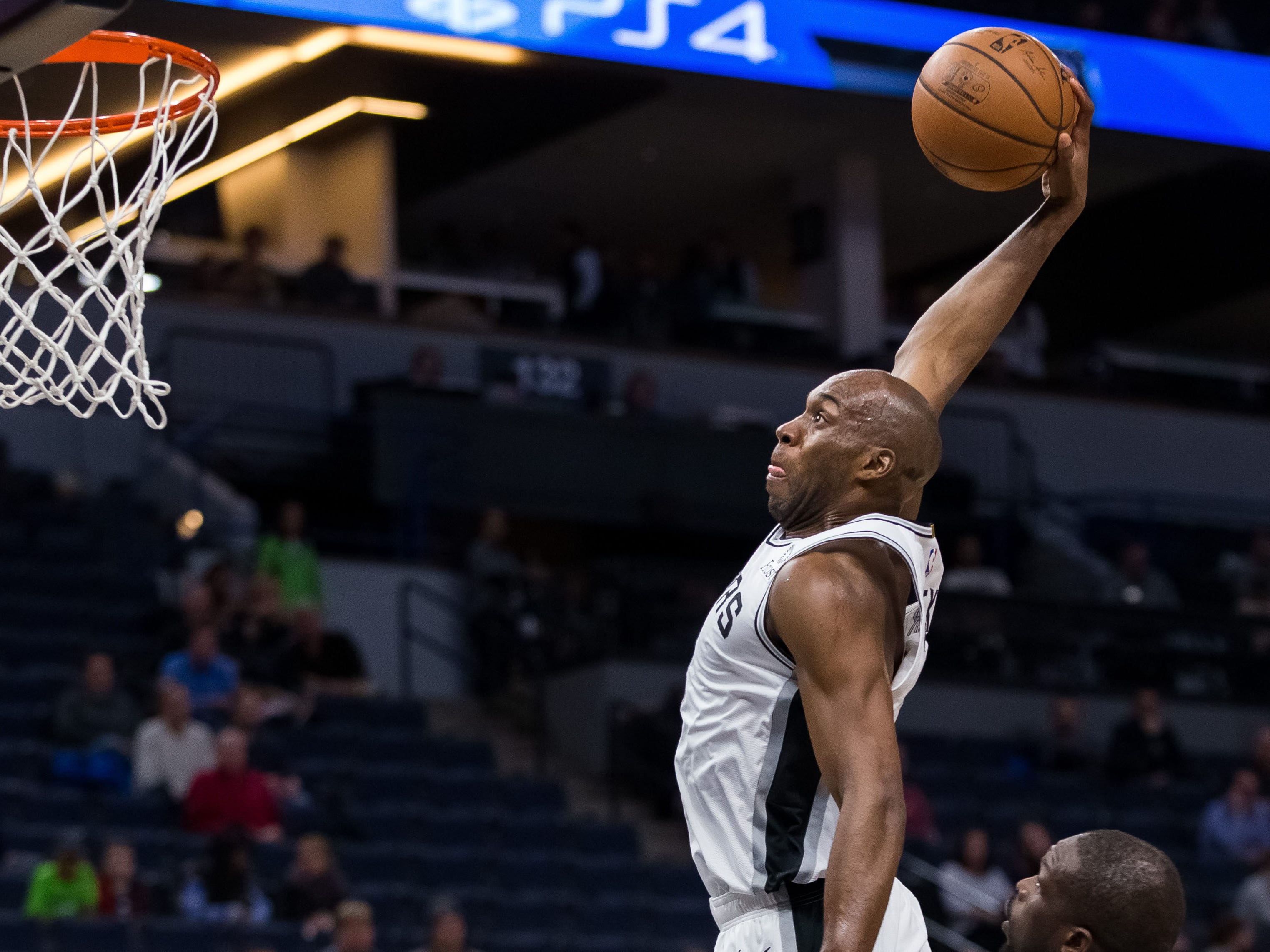 Nov. 28: Spurs forward Quincy Pondexter throws down a thunderous one-handed flush during the second half against the Timberwolves in Minneapolis.
