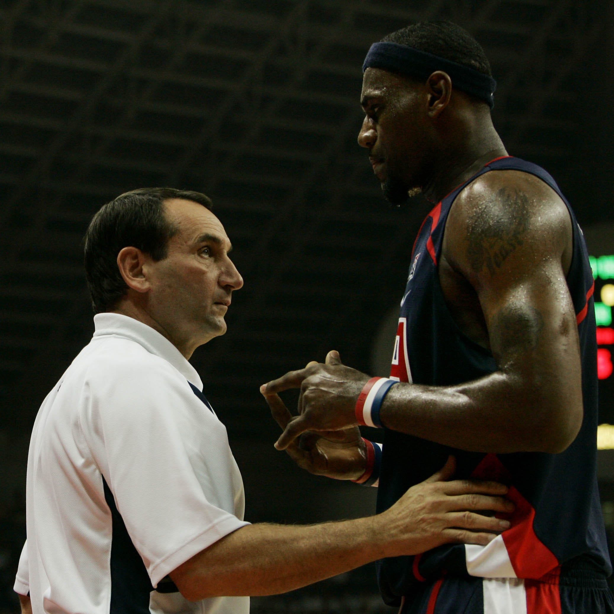 LeBron James chats with  U.S. coach Mike Krzyzewski during a match of China Basketball Challenge in 2006.