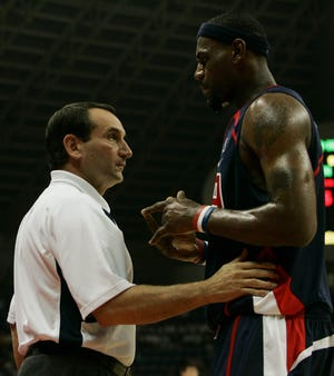 LeBron James chats with U.S. coach Mike Krzyzewski at the China Basketball Challenge in 2006.
