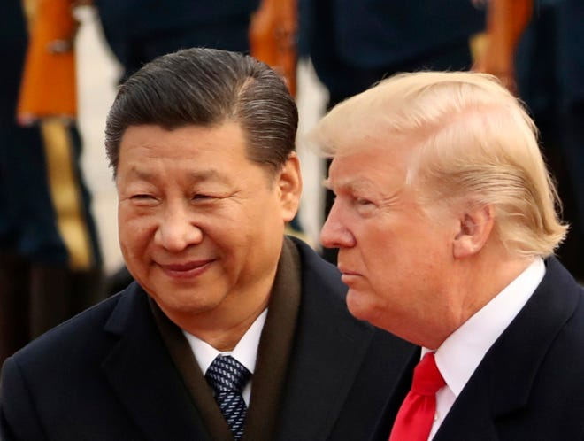 Presidents Donald Trump and Xi Jinping in Beijing on Nov. 9, 2017.