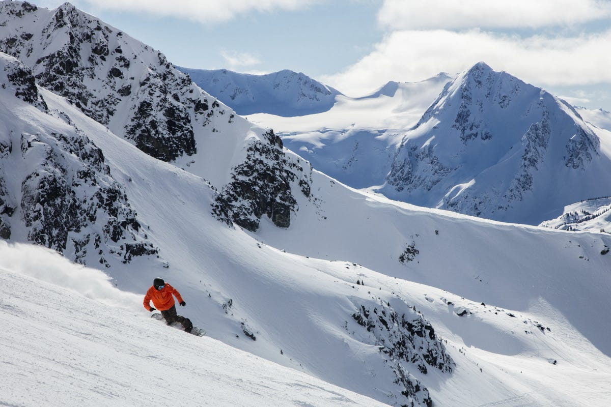 Both Whistler and Blackcomb have unconstrained European-style high alpine terrain, with mislaid of bowls, chutes and glaciers.