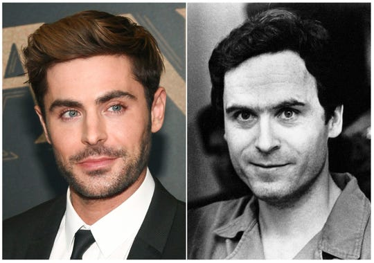 """In this combination photo, Zac Efron attends the world premiere of """"The Greatest Showman"""" in New York on Dec. 8, 2017, left, and serial killer Theodore Bundy appears in Tallahassee, Fla., on July 28, 1978 after being indicted on two counts of first degree murder, three counts of attempted murder and two counts of burglary in the Chi Omega slaying. Efron is portraying Bundy in the Joe Berlinger film """"Extremely Wicked, Shockingly Evil and Vile,"""" which will be presented during the Sundance Film Festival running  Jan. 24 through Feb. 3 in Park City, Utah. (AP Photo) ORG XMIT: NYET316"""