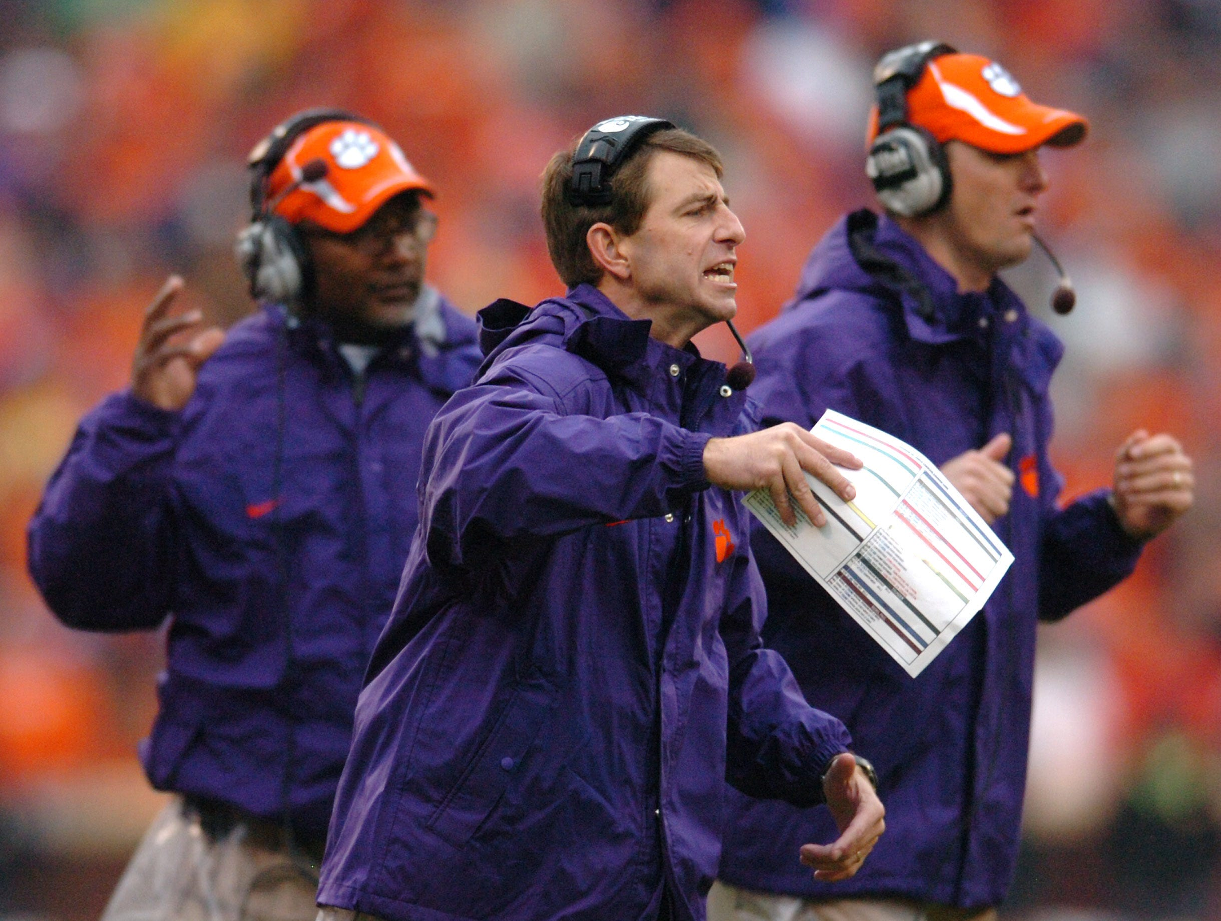 Clemson interim head coach Dabo Swinney coaches the Tigers as they play South Carolina during the 1st quarter Saturday, November 29, 2008 at Clemson's Memorial Stadium.