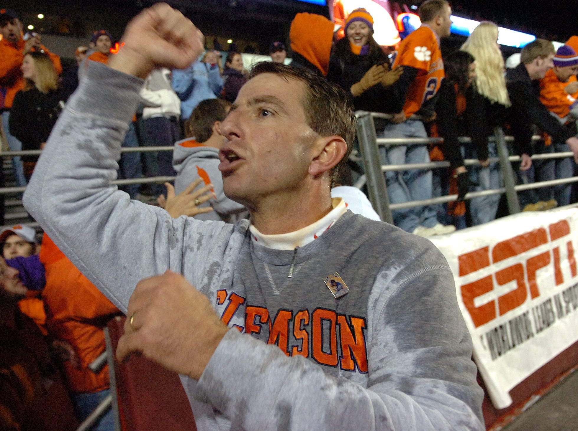 Clemson fans celebrate with qinterim head coach Dabo Swinney after the Tigers defeated Boston College 27-21Saturday, Nov. 1st, 2008 at Alumni Stadium in Chestnut Hill, Mass. Spiller was game MVP.