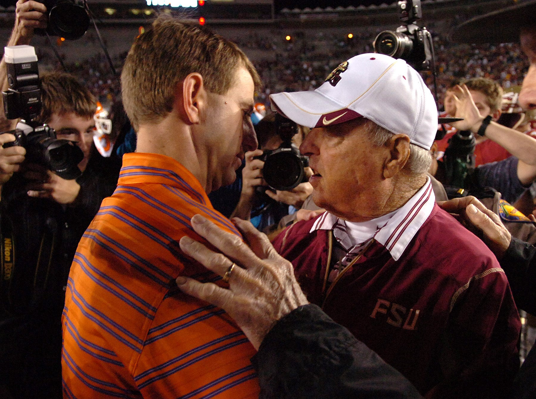 Clemson interim head coach Dabo Swinney meets with Florida State head coach Bobby Bowden at midfield after the Tigers 41-27 loss Saturday, Nov. 8, 2008 at FSU's Doak Campbell Stadium in Tallahassee, Fl.