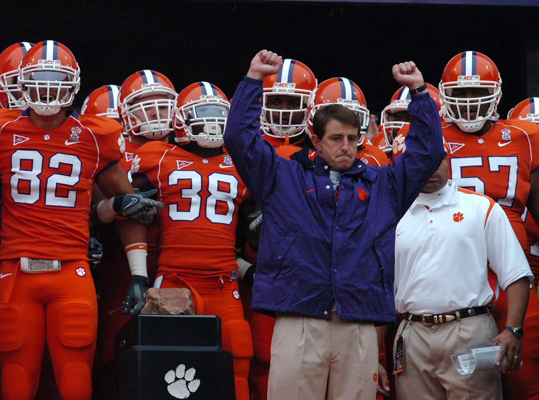 Clemson interim head coach Dabo Swinney stands with his team before running down the hill Saturday, November 29, 2008 at Clemson's Memorial Stadium.