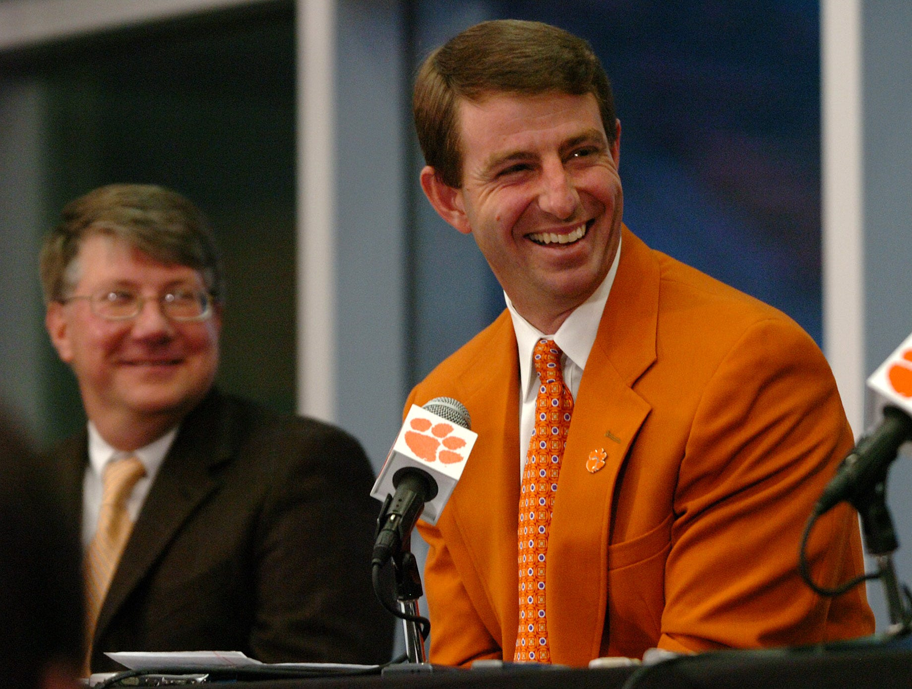 Dabo Swinney is announced as Clemson's head football coach during a press conference at Memorial Stadium in Clemson Monday, December 1,  2008.