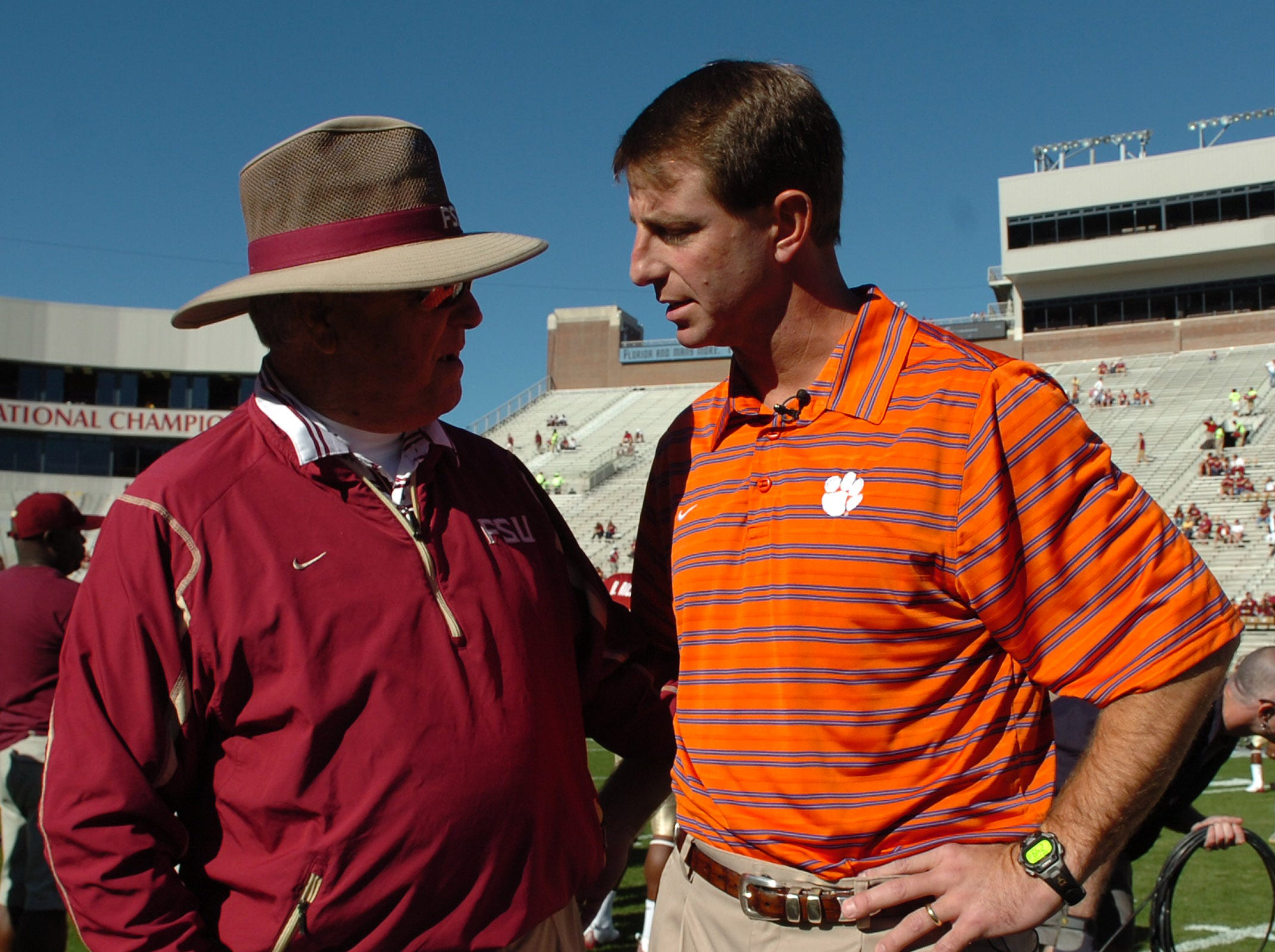 Clemson interim head coach Dabo Swinney talks with Florida State head coach Bobby Bowden before their game Saturday, Nov. 8, 2008 at FSU's Doak Campbell Stadium in Tallahassee, Fl.