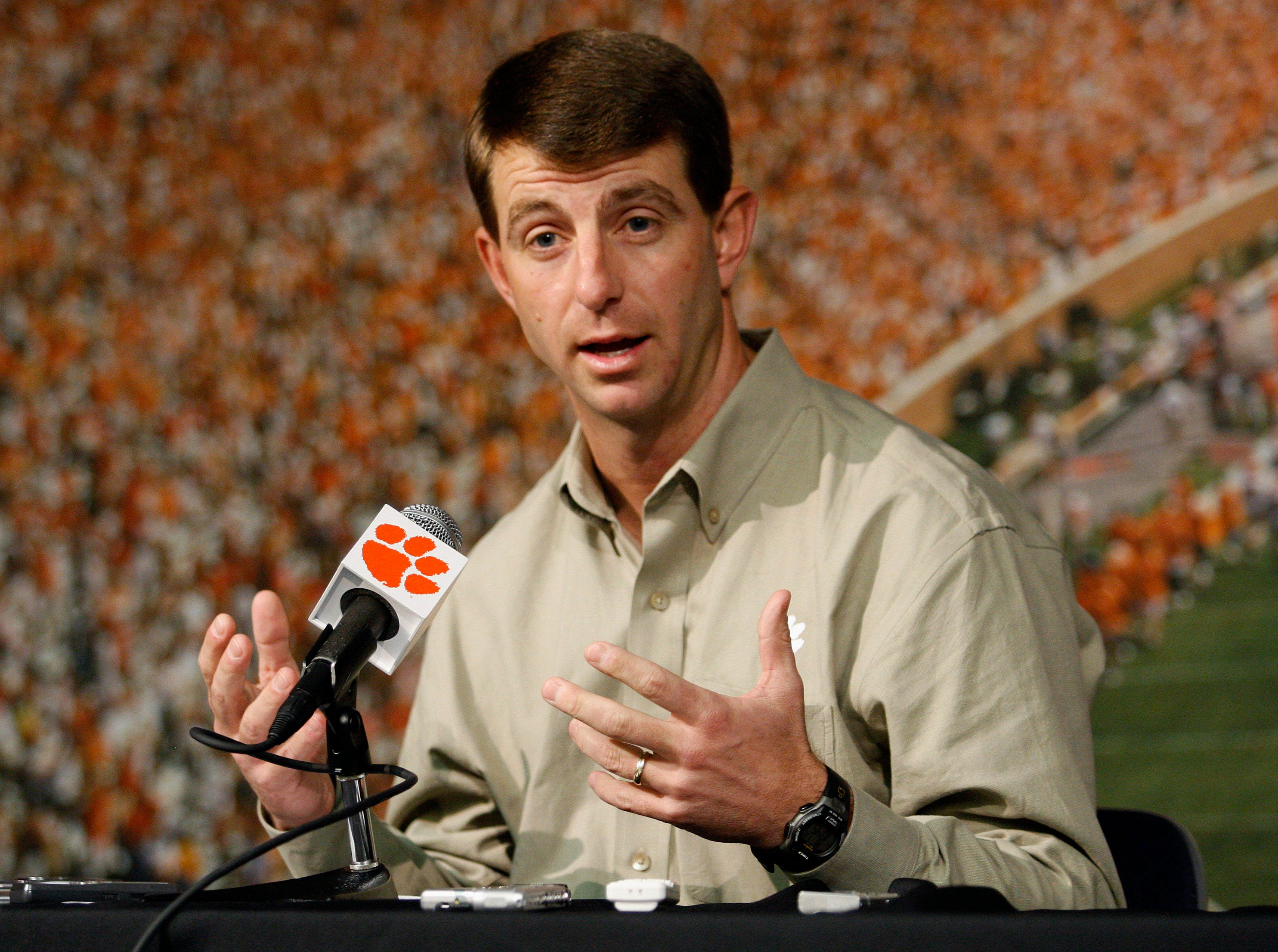 Clemson head coach Dabo Swinney meets with the media Monday, January 12, 2009.
