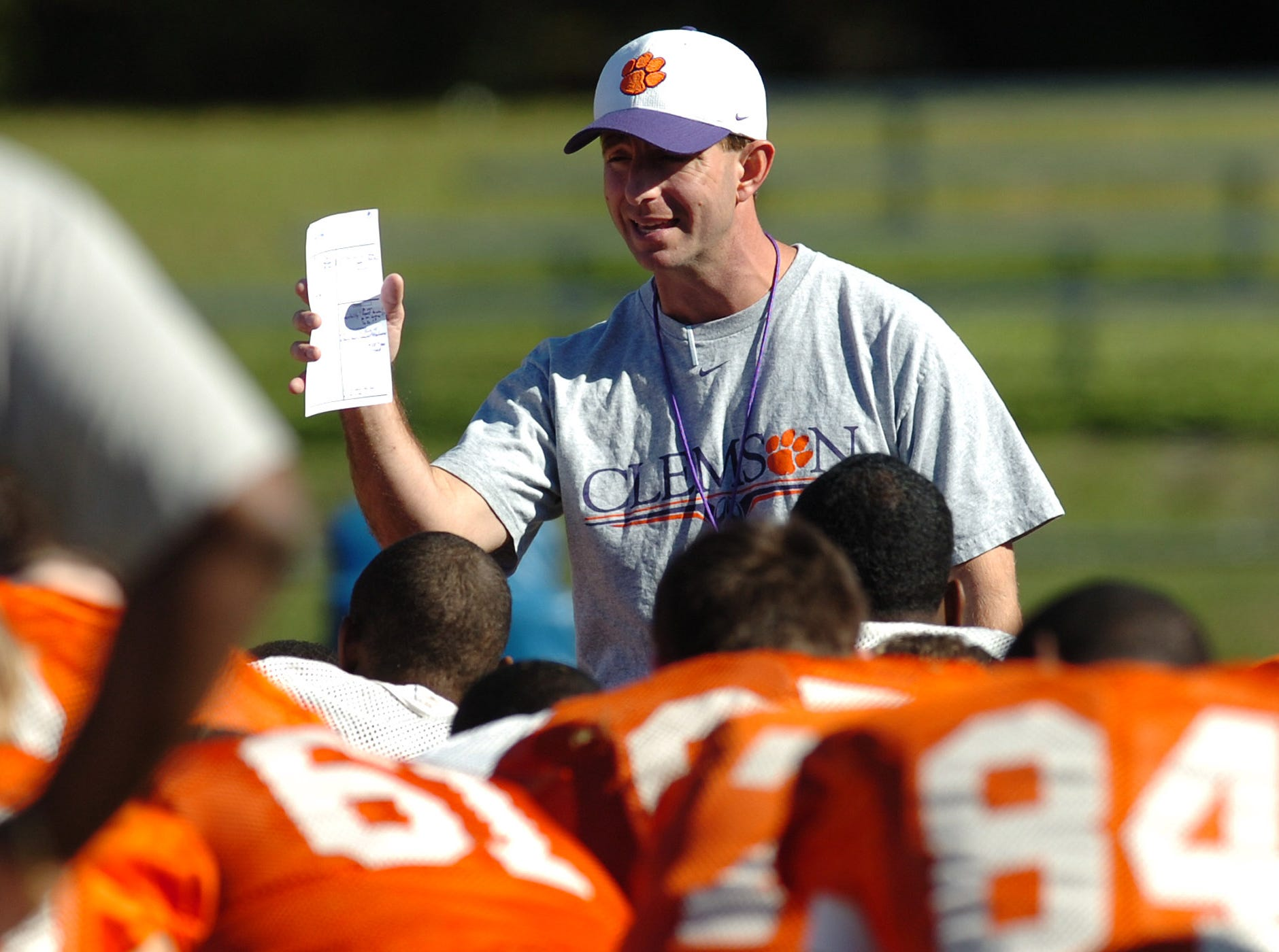 Clemson head coach Dabo Swinney talks with his team during practice Tuesday, December 30, 2008 at Jacksonville University in Jacksonville, Fl. The team is preparing for the Gator Bowl Thursday where they will play Nebraska.
