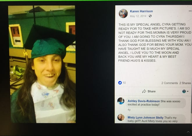Karen Johnson Harrison, the mother of Cyra Harrison, posted this photo in May 2017 as her daughter readied to take photos at Plainview High School. The 25-year-old woman was found dead Nov. 23, and her mother and another couple face second-degree murder and other charges.