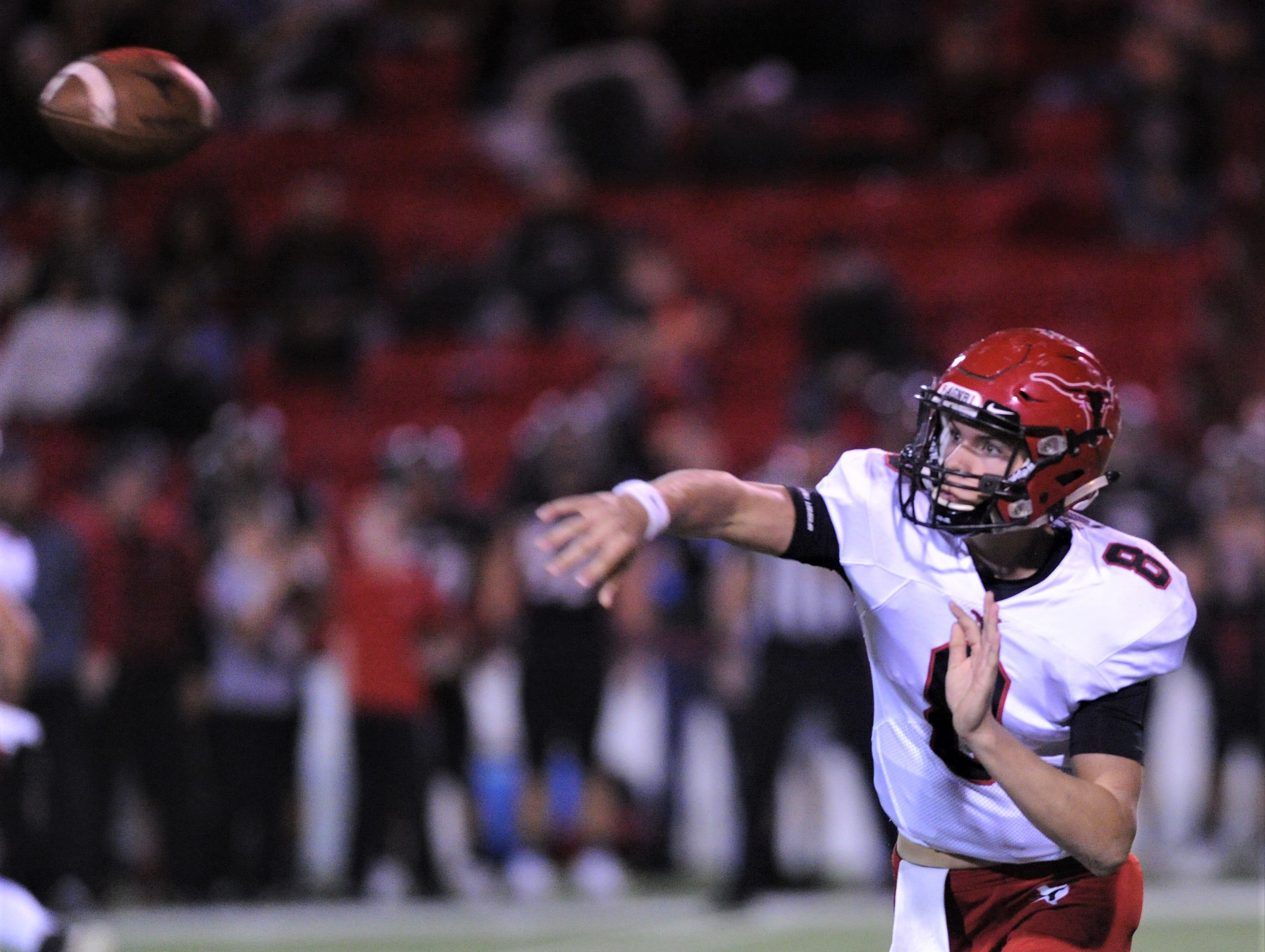 Eastland quarterback Behren Morton throws a pass in the first half against Shallowater. Shallowater beat the Mavericks 56-21 in the Region I-3A Division I semifinal playoff game Thursday, Nov. 29, 2018, at the Mustang Bowl in Sweetwater.