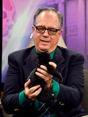 KRBC-TV anchor David Bacon juggles a squirmy kitten during a segment on the 5 p.m. newscast Nov. 29 with the Taylor-Jones Humane Society.