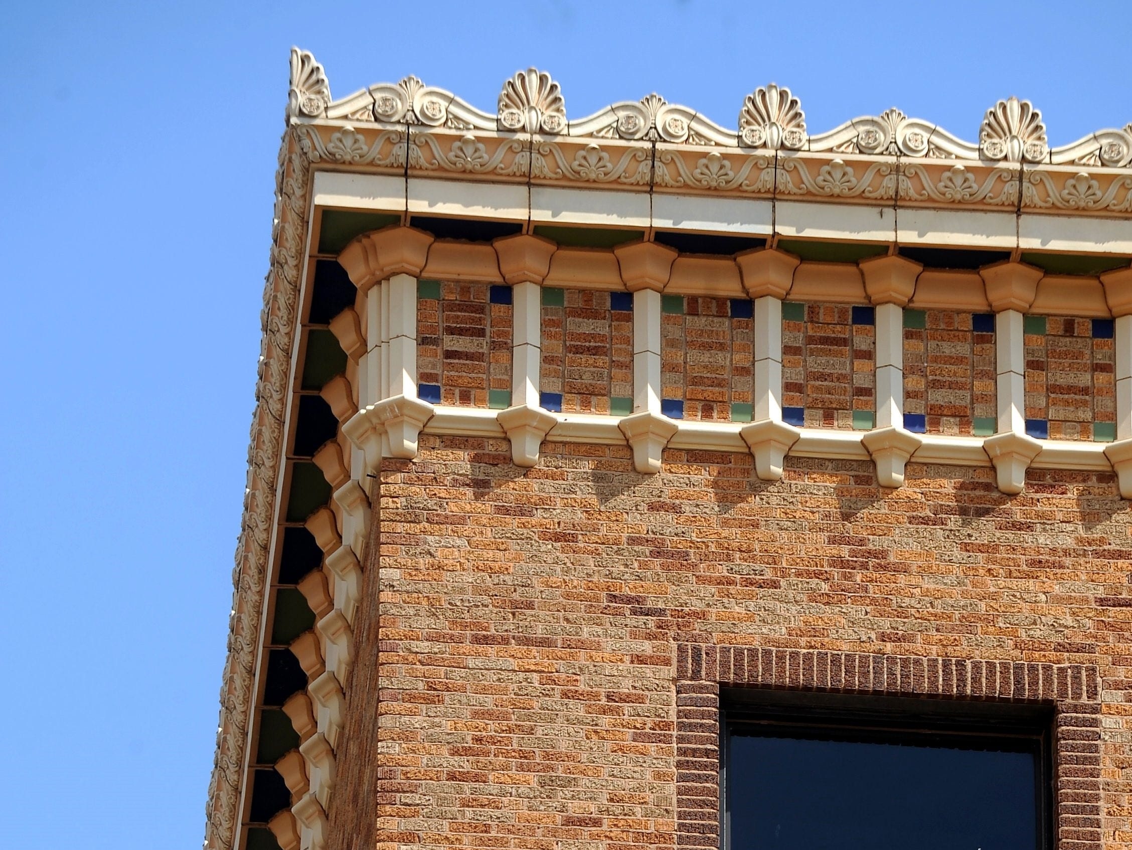 Detail on the Compass Bank building at North Third and Cypress, originally known as the Mims Building.