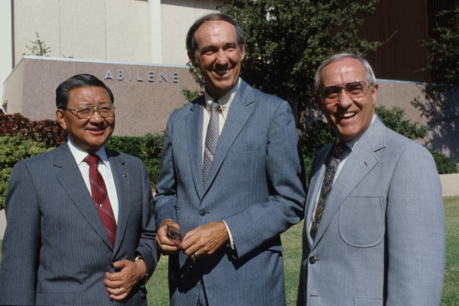 A historic photo pictures, from left, Presidents Thomas Kim of McMurry University, Jesse Fletcher of Hardin-Simmons and Bill Teague of Abilene Christian. Teague and Fletcher both died this year.