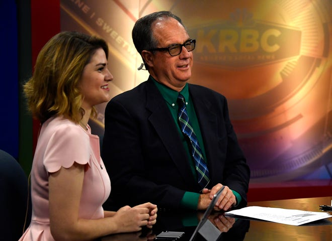 KRBC-TV news anchors Kathleen Barkley and David Bacon begin their 5 p.m. broadcast Nov. 29. Bacon changed roles at the station from sales to being in front of a camera again.