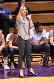 Hardin-Simmons coach Kendra Hassell calls out a play against Louisiana College on Thursday. The Cowgirls won 79-60.