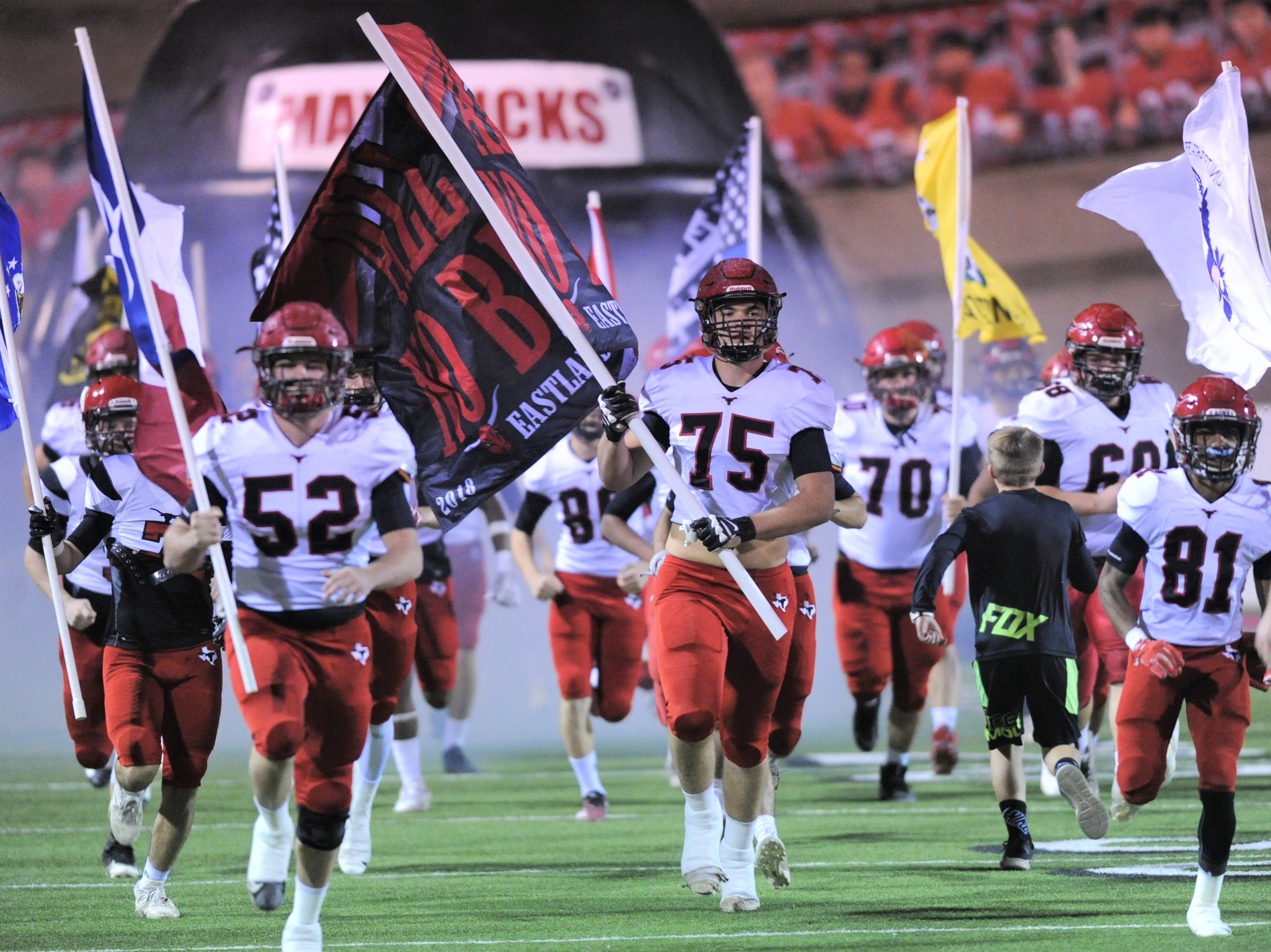Eastland players take the field before the Mavericks game against Shallowater. Shallowater beat the Mavericks 56-21 in the Region I-3A Division I semifinal playoff game Thursday, Nov. 29, 2018, at the Mustang Bowl in Sweetwater.