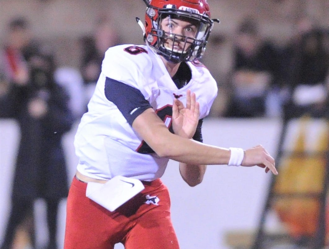 Eastland quarterback Behren Morton throws a pass against Shallowater. Shallowater beat the Mavericks 56-21 in the Region I-3A Division I semifinal playoff game Thursday, Nov. 29, 2018, at the Mustang Bowl in Sweetwater.