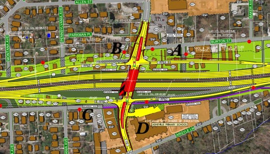 This map shows current state plans for the area around the Haywood Road/I-240 interchange in West Asheville. Areas in yellow are new travel lanes, those in red are new bridges or other structures and the purple line is a greenway path. Areas in light green are new right-of-way DOT would buy.